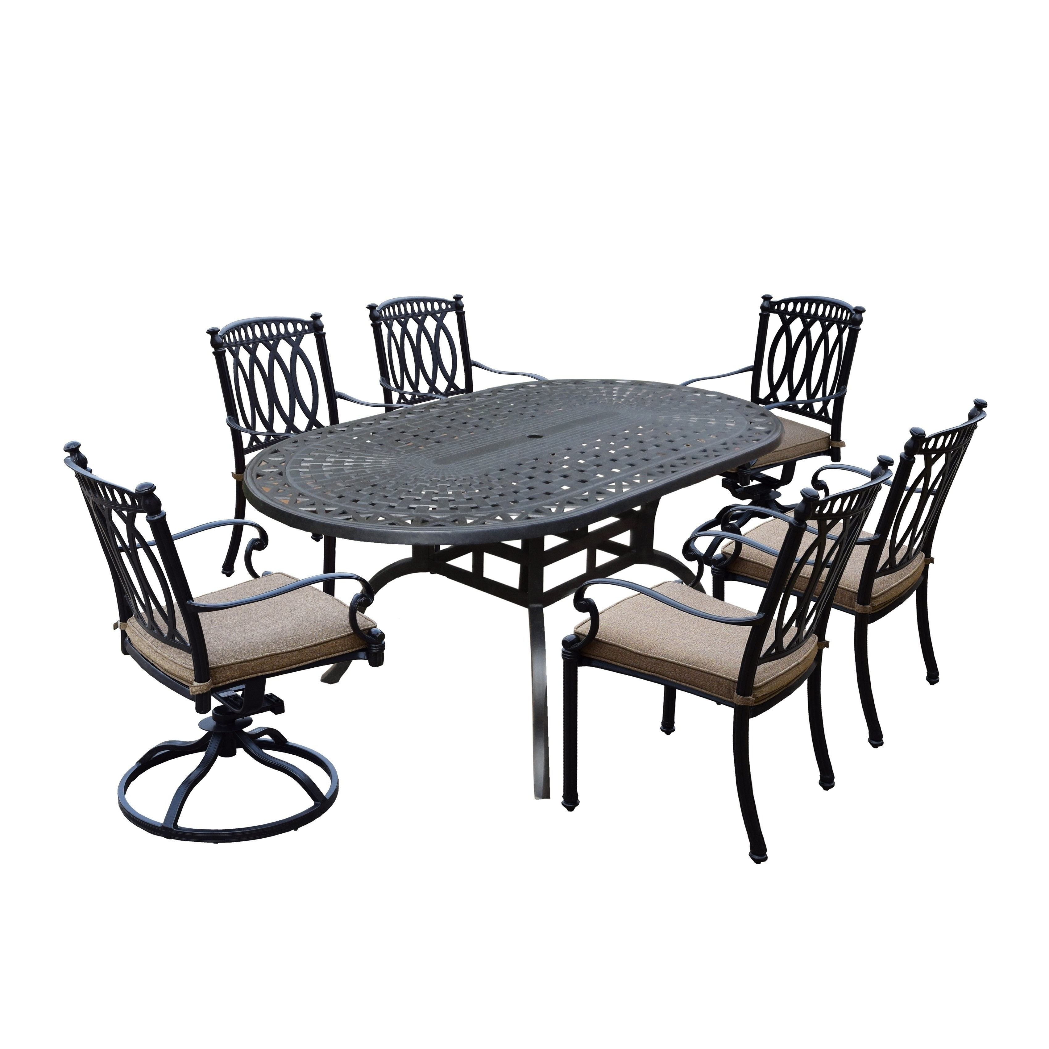 Valencia 72 Inch 7 Piece Dining Sets intended for Newest Milan 7 Piece Set With Oval Table, 4 Cushioned And Stackable Chairs