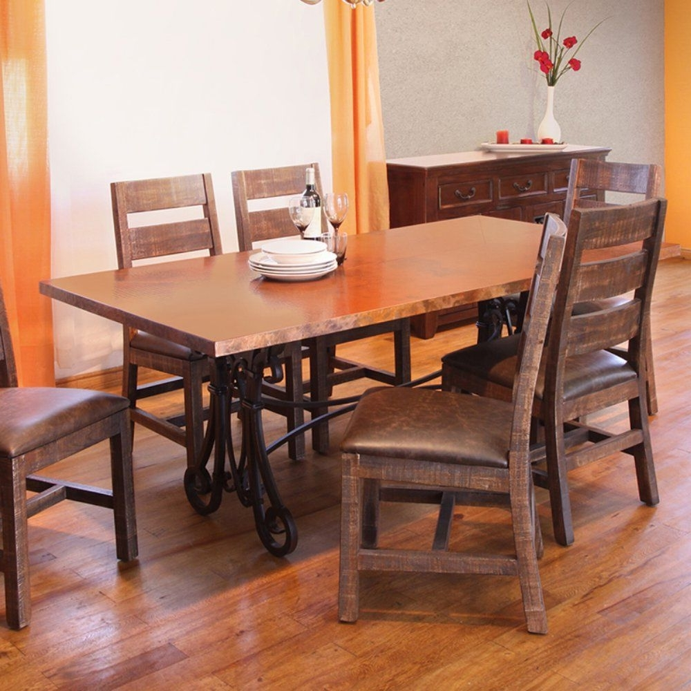 Valencia 72 Inch 7 Piece Dining Sets pertaining to Popular Valencia Rectangular Copper Top Dining Table - Dark Brown - Have The