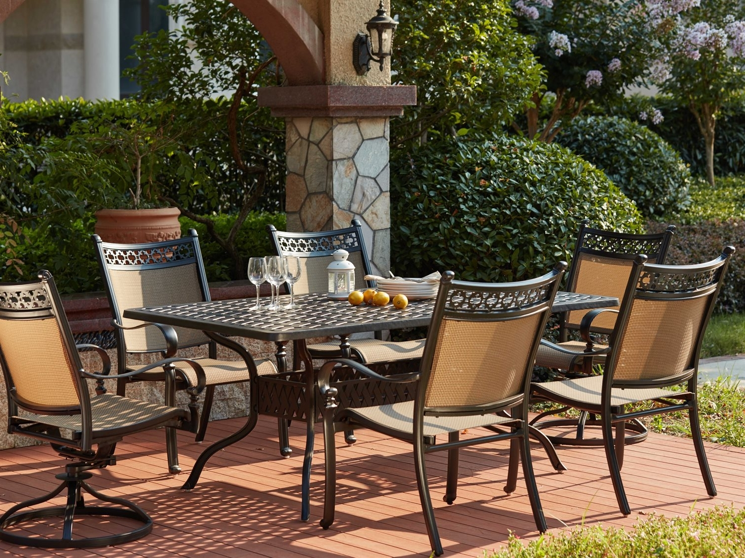 Valencia 72 Inch 7 Piece Dining Sets Within Most Recent Darlee Outdoor Living Standard Mountain View Cast Aluminum 7  Piece (View 24 of 25)