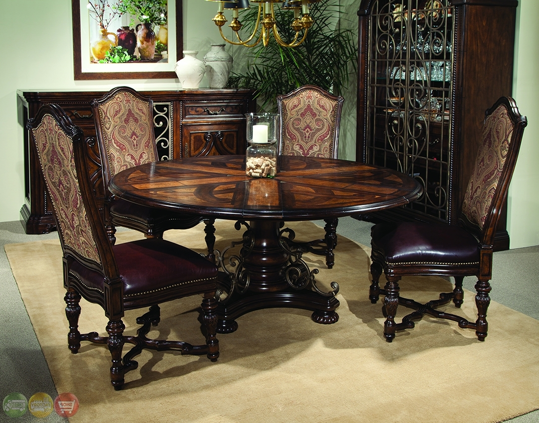 Valencia Antique Style Round Table Dining Room Set, Dining Room With Best And Newest Valencia 72 Inch 6 Piece Dining Sets (View 18 of 25)