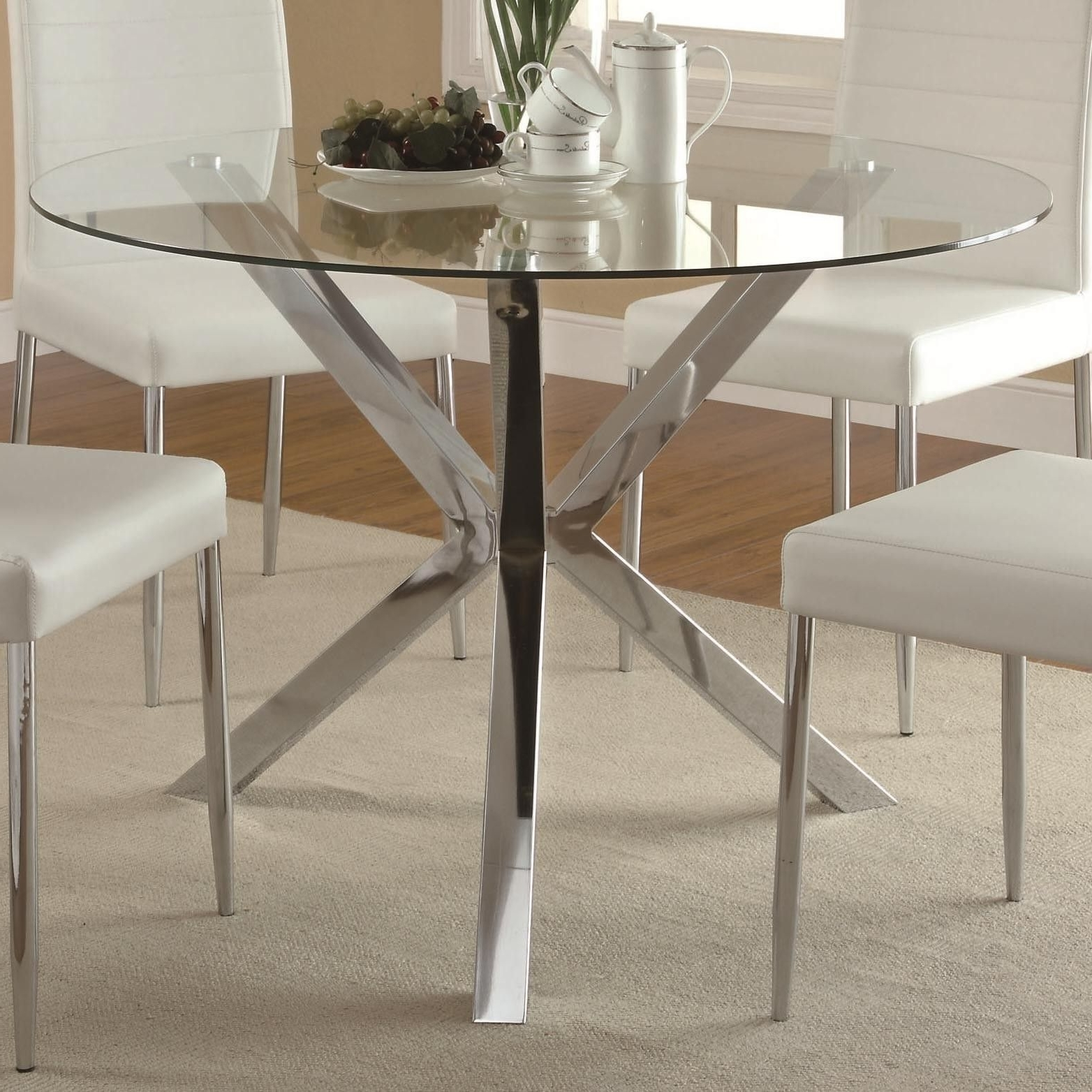 Vance Glass Top Dining Table With Unique Chrome Base 120760 Qlx1 Inside Newest Lassen 5 Piece Round Dining Sets (Gallery 5 of 25)