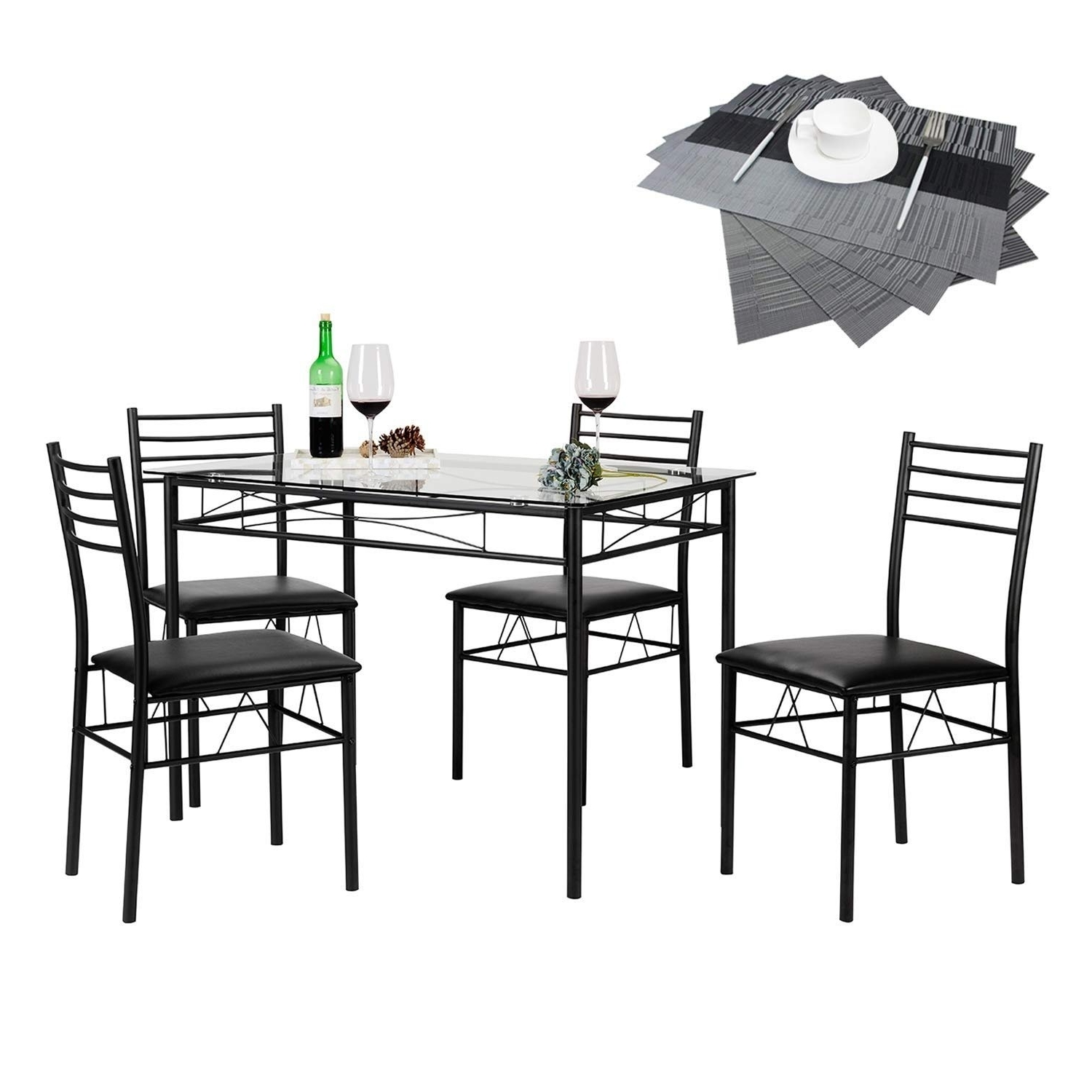Vecelo Glass Dining Table Set With 4 Chairs Kitchen Table Set pertaining to Recent Black Glass Dining Tables And 4 Chairs