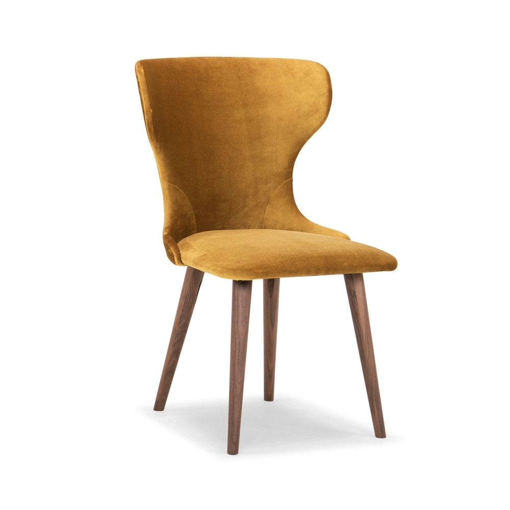Velvet Dining Chairs inside Well known Scoop Mustard Velvet Dining Chair - Me And My Trend