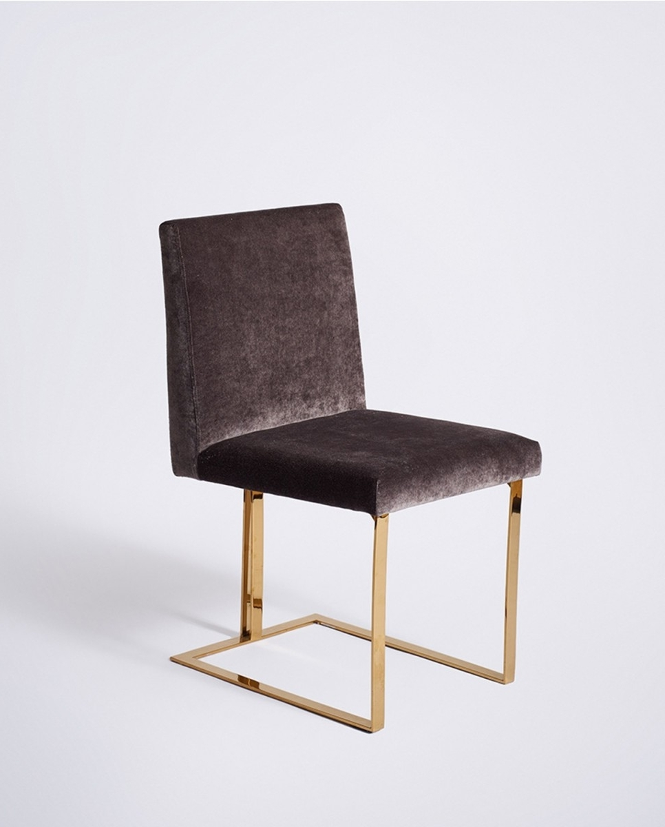 Velvet Dining Chairs Pertaining To Current Edwards Dining Chair, Gold Frame Charcoal Velvet – Dining Chairs (Gallery 25 of 25)