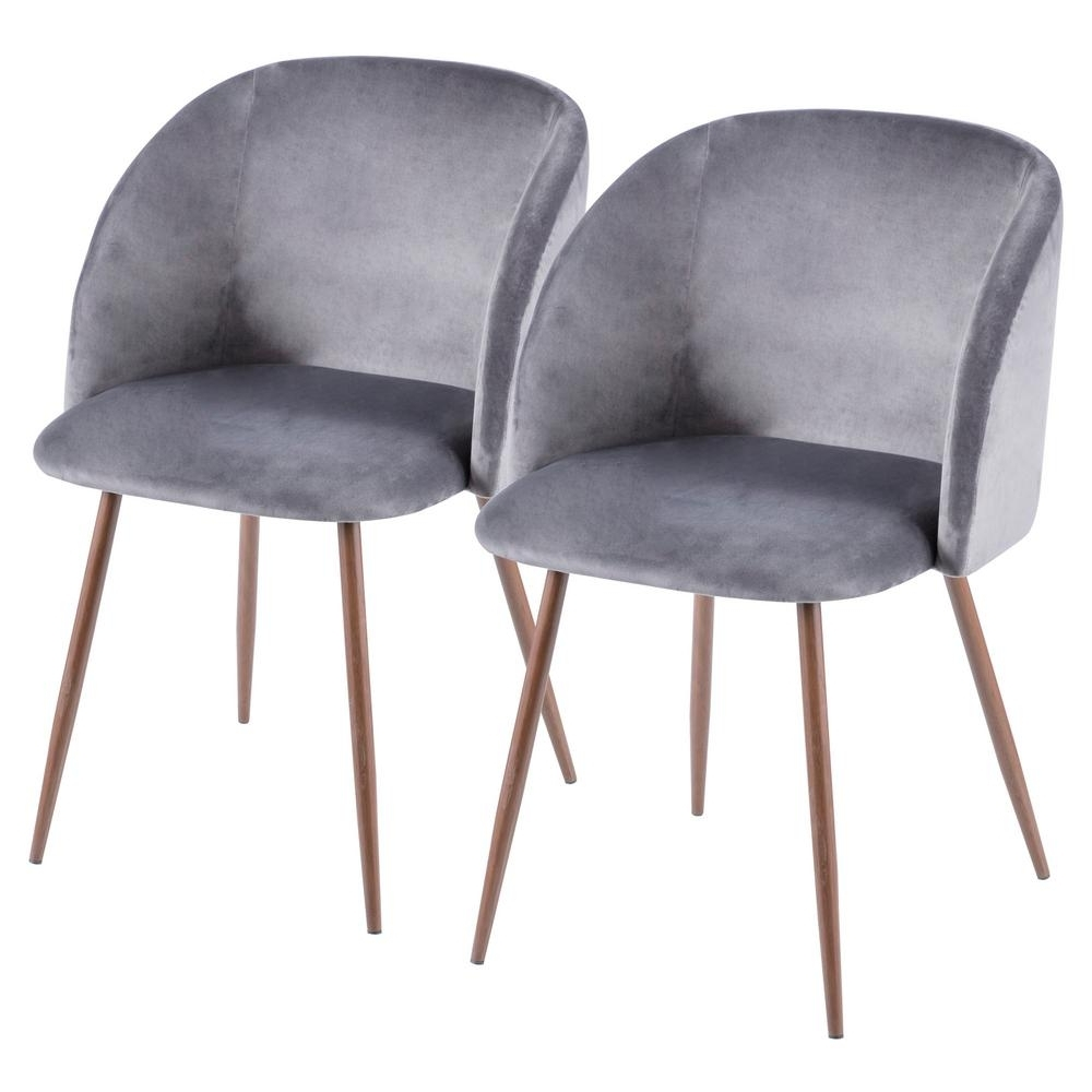 Velvet Dining Chairs pertaining to Famous Lumisource Fran Walnut And Grey Velvet Dining Chair (Set Of 2)-Ch