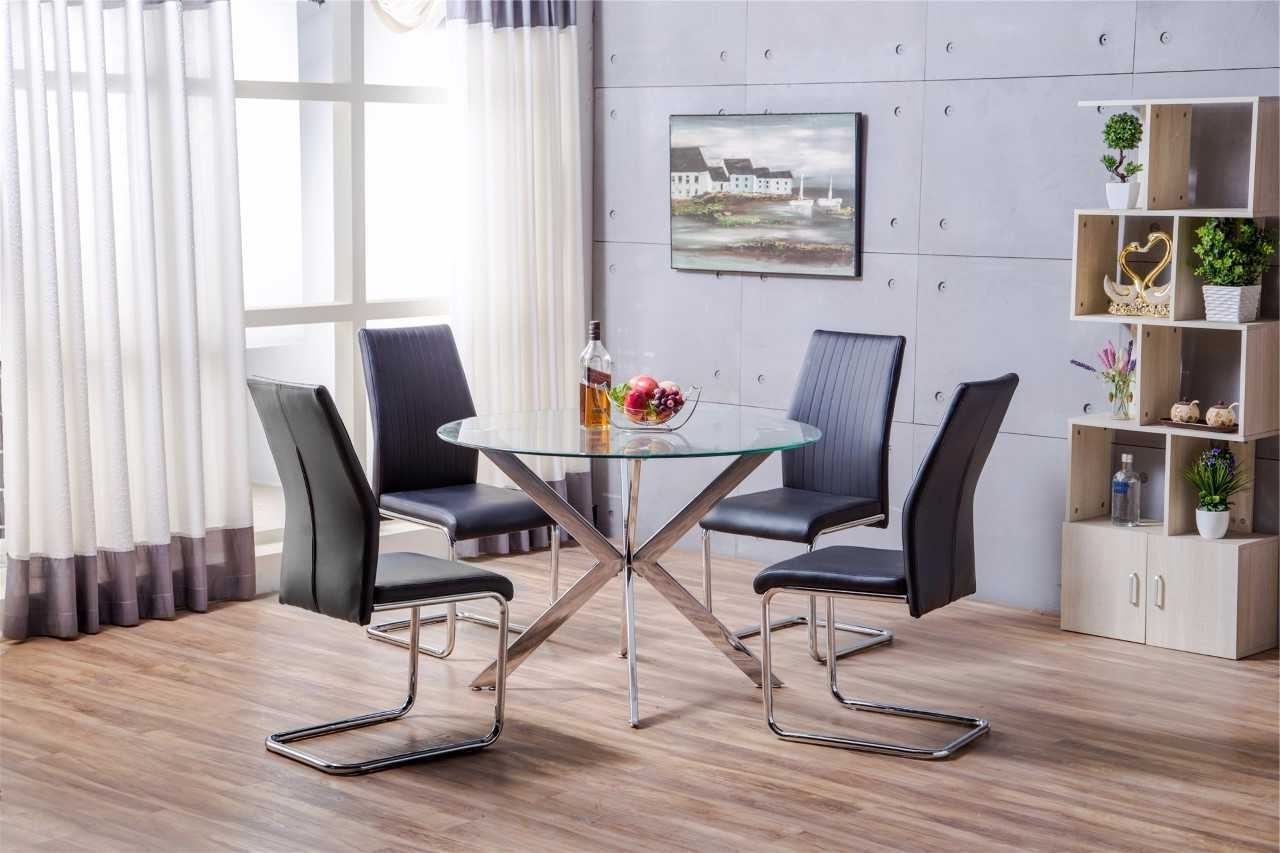 Venice Chrome Metal Round Glass Dining Table And 4 Black White Pertaining To 2017 Glass Dining Tables White Chairs (View 23 of 25)