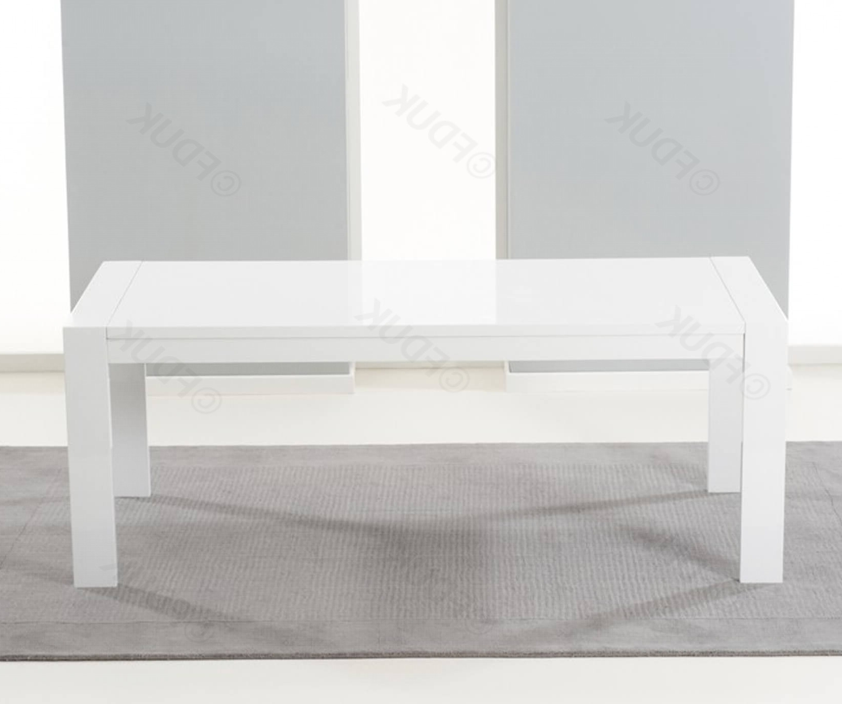 Venice White High Gloss Extending Dining Table