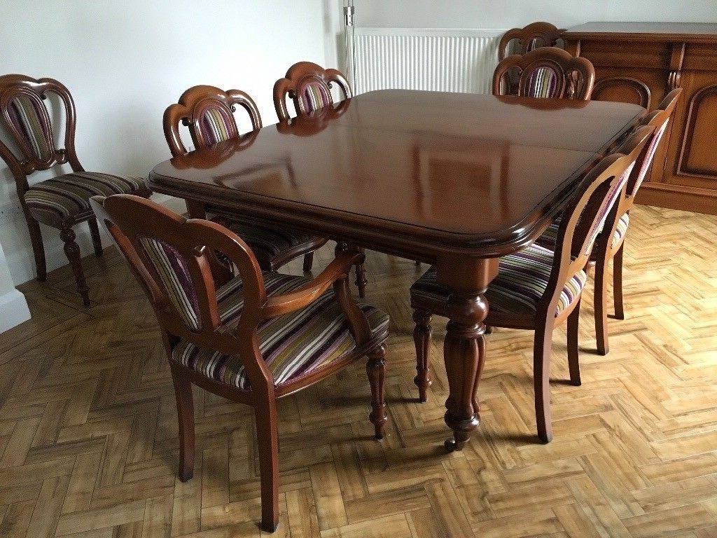 Victorian Style Solid Mahogany Dining Table, Chairs And Sideboard With Newest Mahogany Dining Table Sets (Gallery 10 of 25)