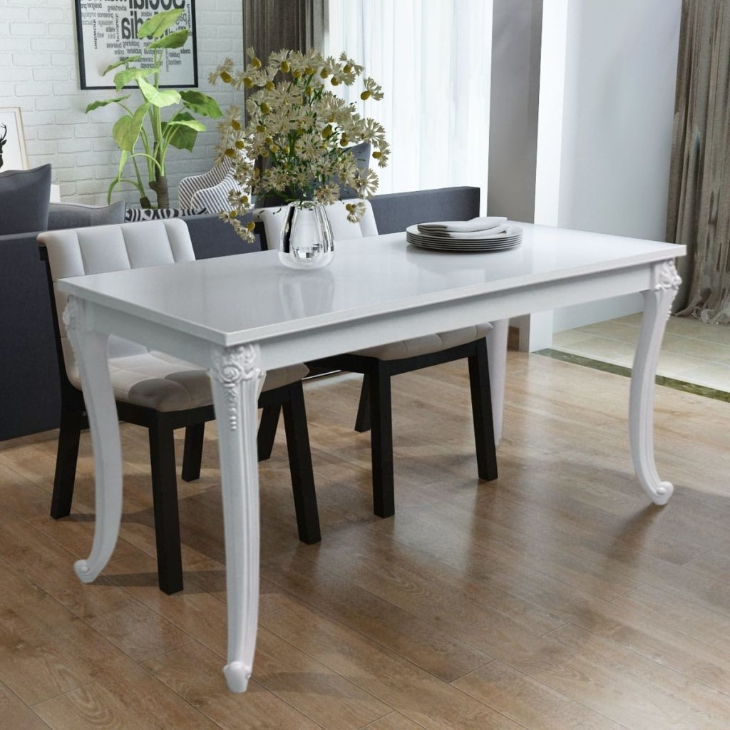 "Vidaxl Dining Table 47.2""x27.6""x30"" High Gloss White-In Dining inside Favorite Shiny White Dining Tables"