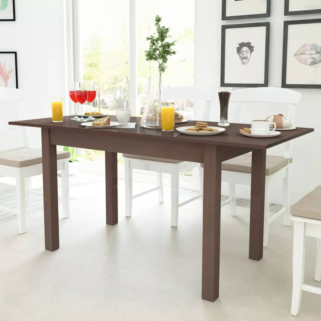 Vidaxl Extending Dining Table Kitchen Furniture Dark Brown 120 Inside Most Popular Extending Dining Tables (Gallery 23 of 25)