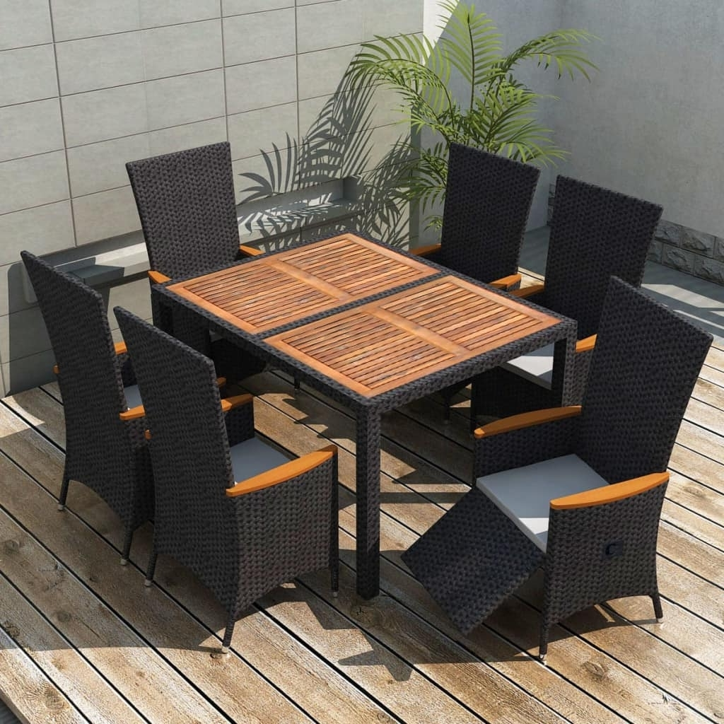 Vidaxl Garden Dining Set 13 Piece Wicker Rattan Acacia Xxl Table pertaining to Most Recently Released Garden Dining Tables And Chairs
