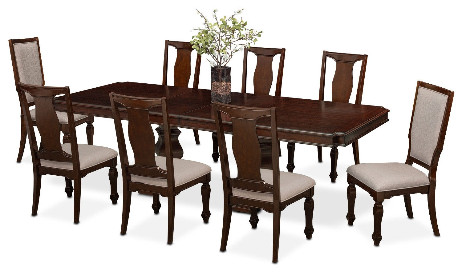 Vienna Dining Table, 6 Side Chairs And 2 Upholstered Side Chairs with Famous Vienna Dining Tables