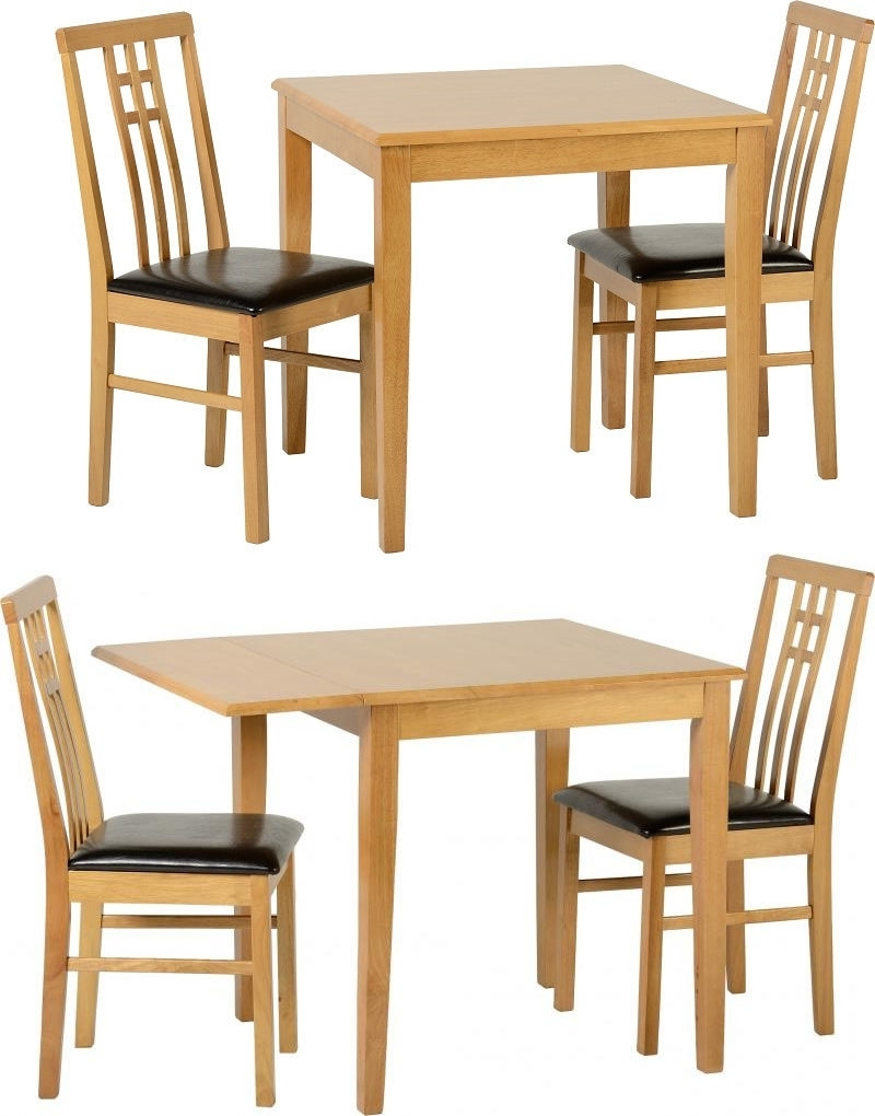 Vienna Dining Tables Regarding Fashionable Vienna Dining Table Set With 2 Chairs Medium Drop Leaf Oak Brown (Gallery 17 of 25)