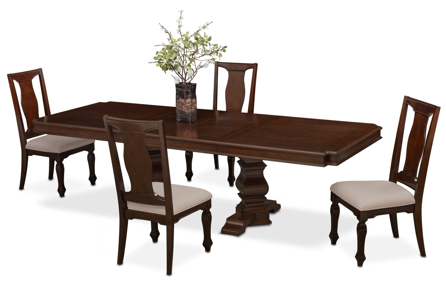 Vienna Dining Tables With Regard To Most Popular Vienna Rectangular Dining Table And 4 Side Chairs – Merlot (View 11 of 25)