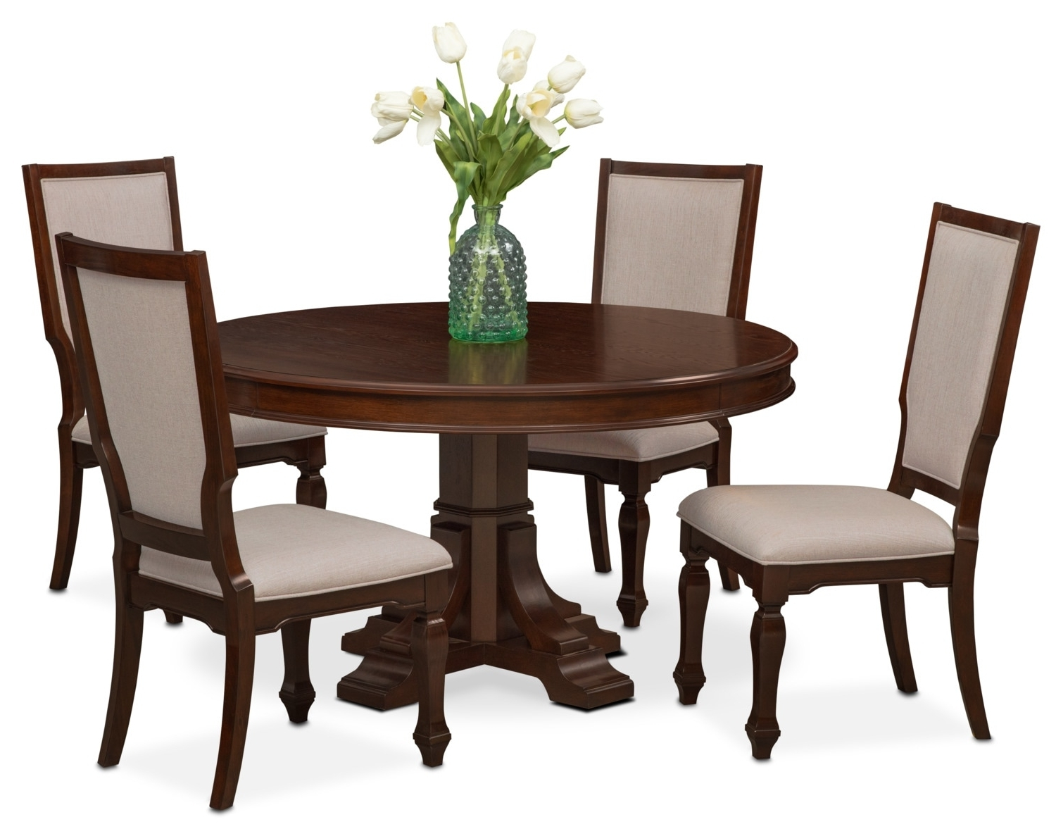 Vienna Round Dining Table And 4 Upholstered Side Chairs – Merlot For Preferred Vienna Dining Tables (View 5 of 25)