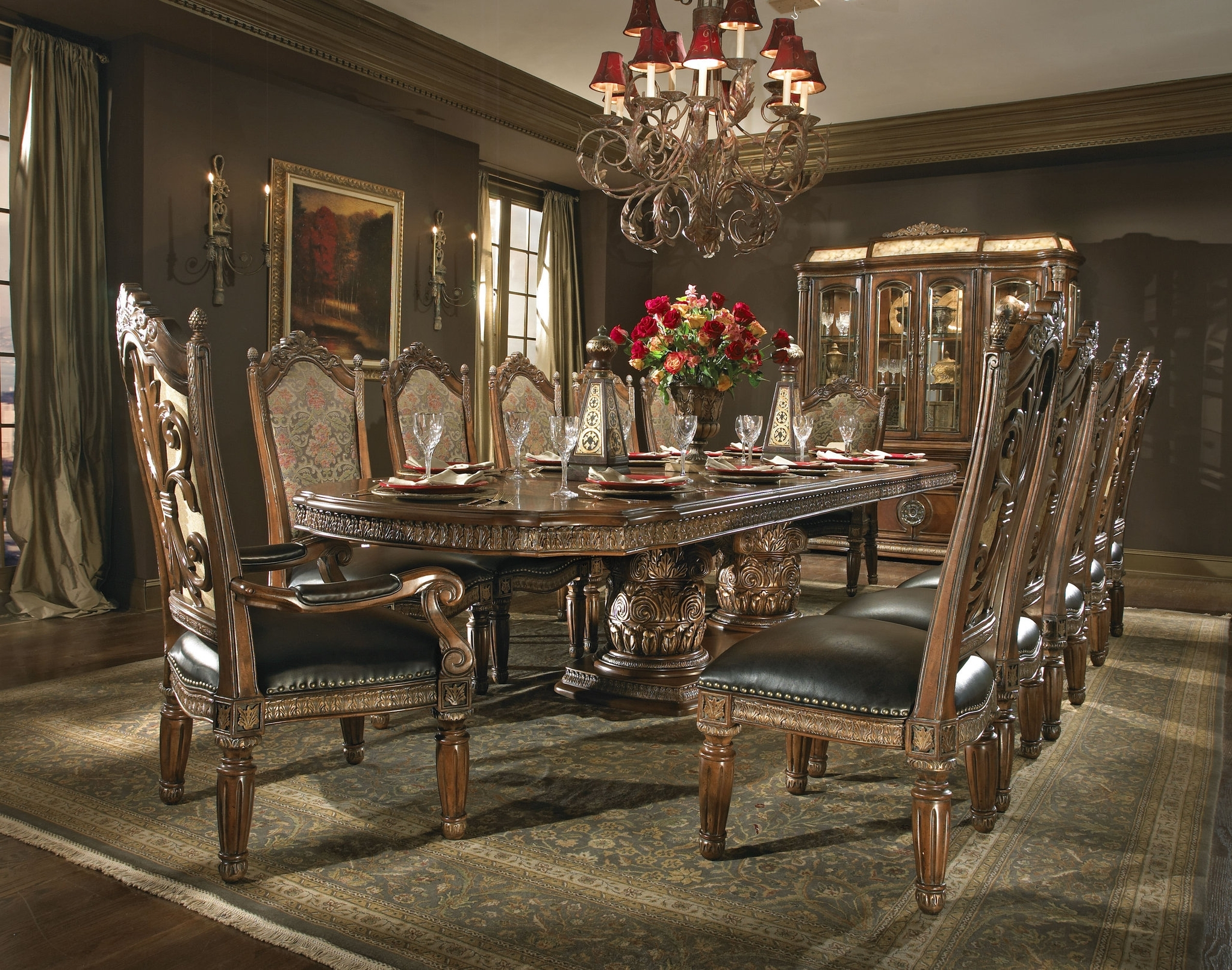 Villa Valencia Formal Dining Room Collectionaico - pertaining to Well known Valencia 5 Piece Round Dining Sets With Uph Seat Side Chairs