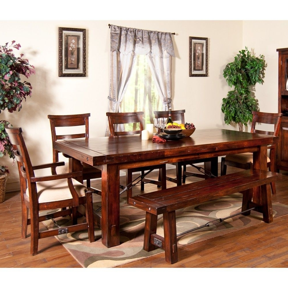 Vineyard Wood Rectangular Dining Table & Chairs In Rustic Mahogany Pertaining To Trendy Mahogany Dining Table Sets (View 23 of 25)
