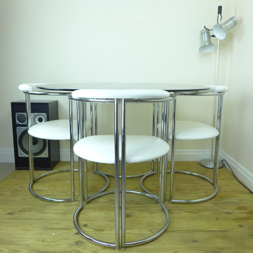 Vintage 70's Chrome & Smoked Glass Dining Table And White Faux for Latest Smoked Glass Dining Tables And Chairs