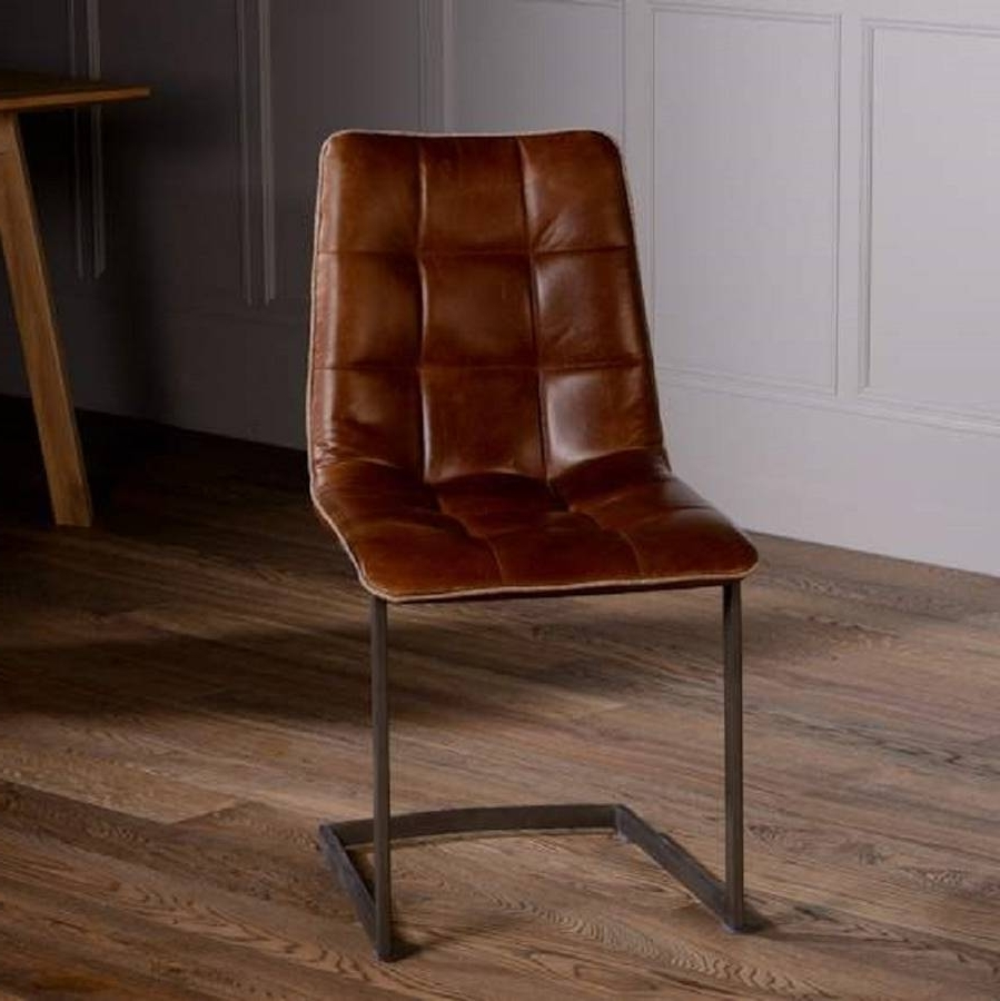 Vintage Italian Leather Dining Chair With Metal Legsthe Orchard With 2018 Brown Leather Dining Chairs (Gallery 2 of 25)