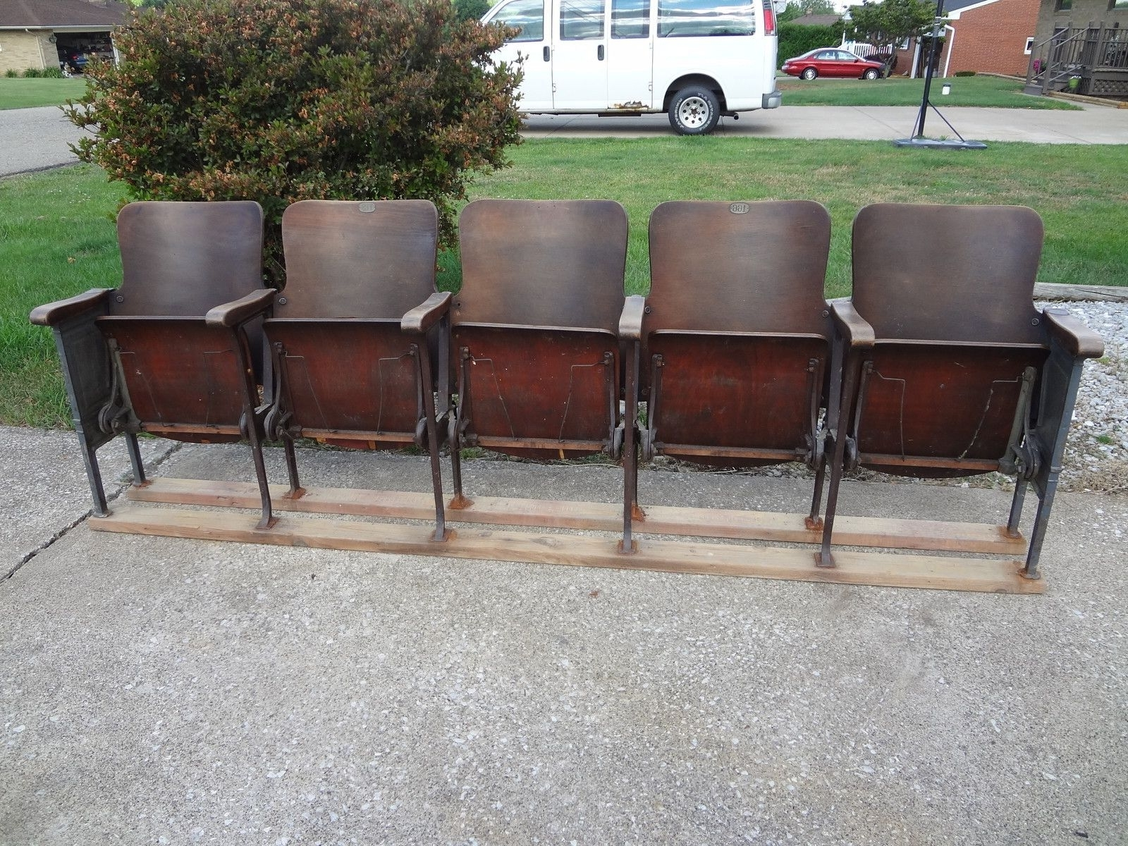 Vintage Movie Theatre Wood Seat Cast Iron Chair Auditorium Stadium in Most Up-to-Date Bale 7 Piece Dining Sets With Dom Side Chairs