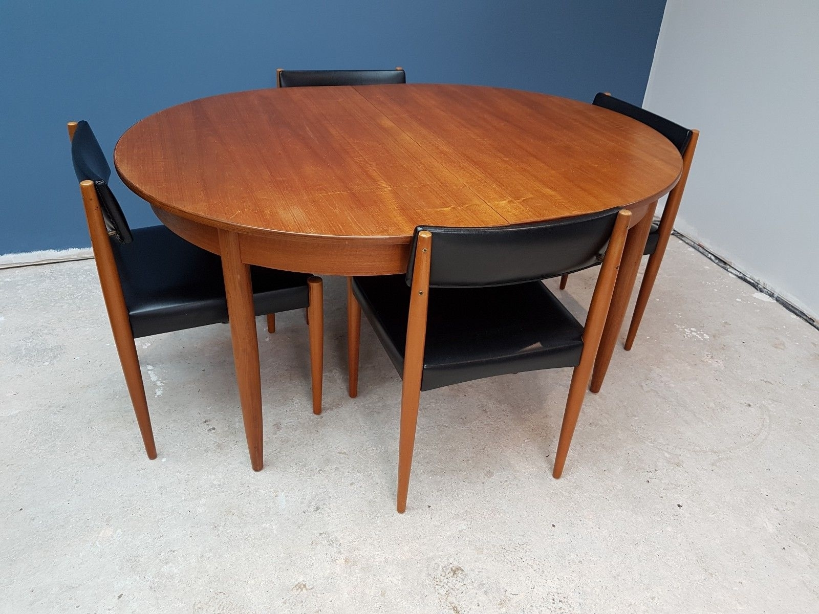 Vintage Retro G Plan Teak Extending Dining Table And 4 Danish Style inside Newest Retro Extending Dining Tables