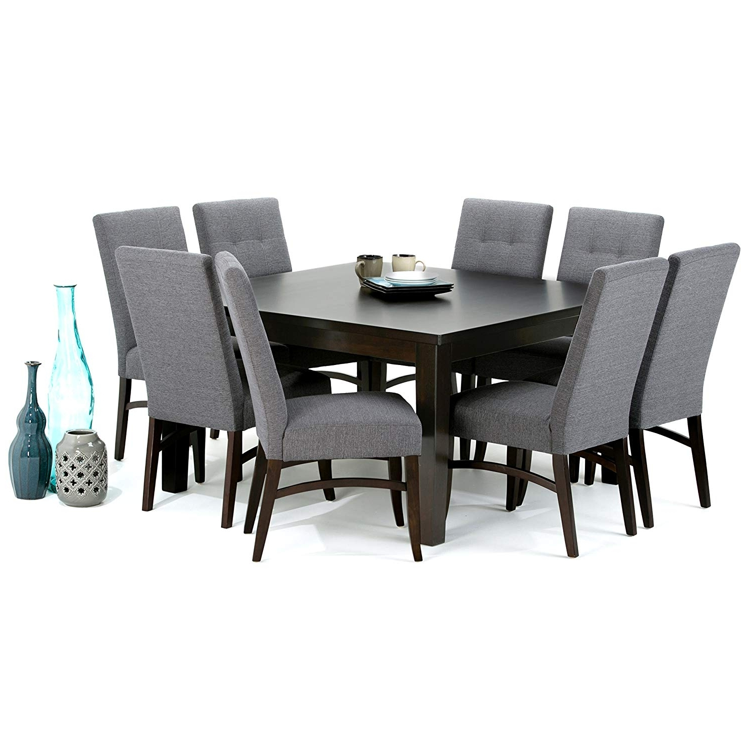Walden 7 Piece Extension Dining Sets In Current Amazon – Simpli Home Ezra 9 Piece Dining Set, Slate Grey – Table (View 17 of 25)