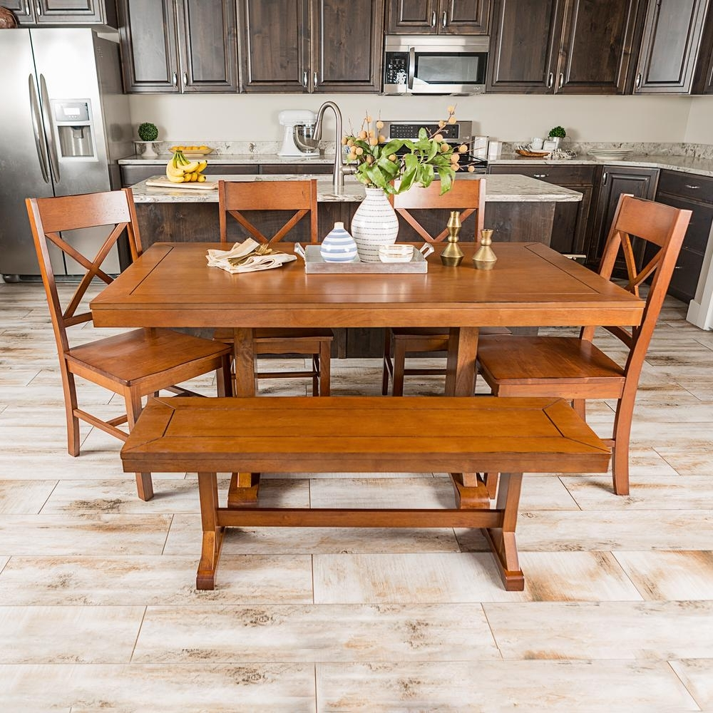 Walker Edison Furniture Company Millwright 6 Piece Antique Brown Inside Latest Wooden Dining Tables And 6 Chairs (View 14 of 25)