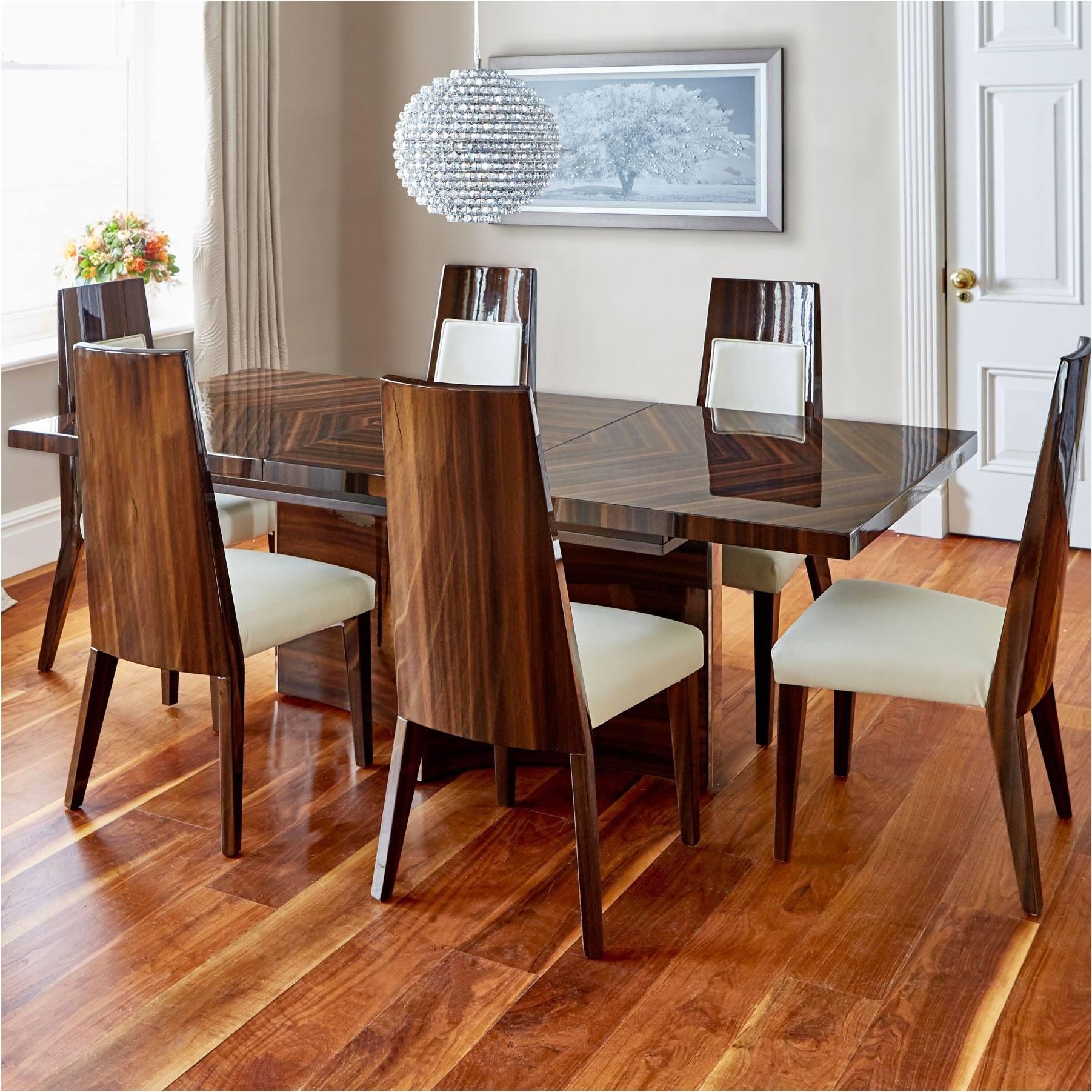 Walnut Dining Table And 6 Chairs Inside Most Popular Best Alexis High Gloss Walnut Dining Table And 6 Chairs – Walnut (View 13 of 25)