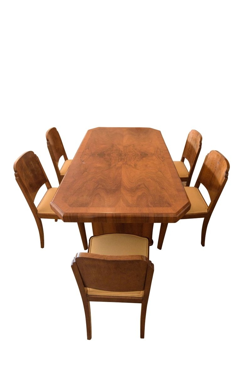 Walnut Dining Table And 6 Chairs Intended For Well Liked Art Deco Walnut Dining Table & 6 Chairs, 1920S For Sale At Pamono (View 21 of 25)