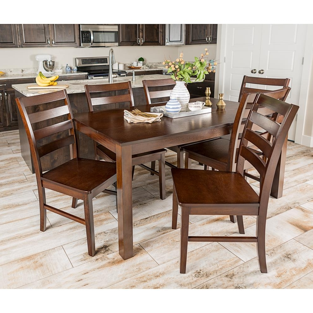 Walnut Dining Table Sets Inside Most Recently Released Walker Edison Furniture Company Homestead 7 Piece Walnut Wood Dining (View 14 of 25)