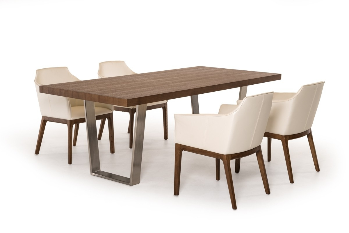 Walnut Dining Table Sets Throughout Fashionable Modrest Byron Modern Walnut & Stainless Steel Dining Table (View 16 of 25)