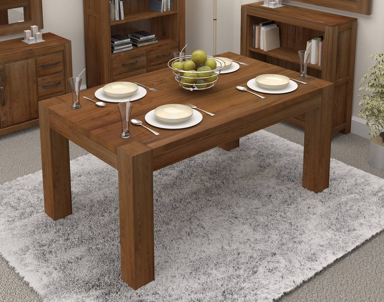 Walnut Dining Table Sets Within Most Popular Linea Solid Walnut Home Dining Room Furniture Four Seater Dining (View 21 of 25)