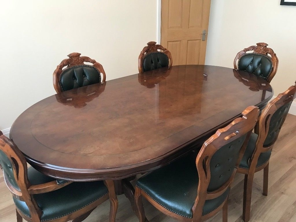 Walnut Dining Tables And 6 Chairs Regarding Most Recently Released Italian Walnut Dining Table With 6 Chairs High Gloss Stunning! (View 22 of 25)