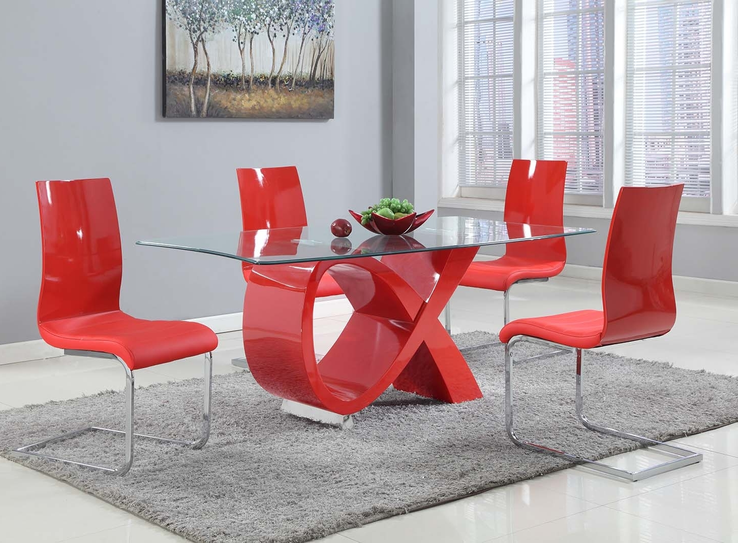 Well Known 5 Pcs Contemporary Dining Table Within Red Gloss Dining Tables (View 7 of 25)