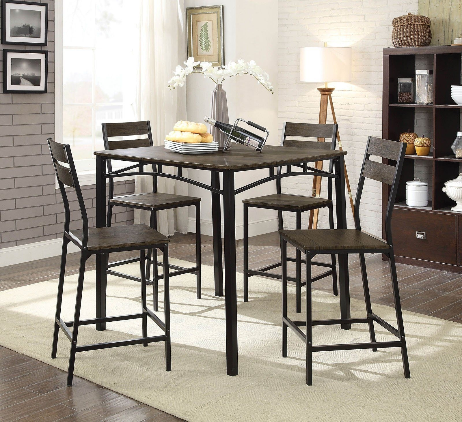 Well Known 5 Piece Metal And Wood Counter Height Table Set In Antique Brown In Throughout Market 5 Piece Counter Sets (View 7 of 25)