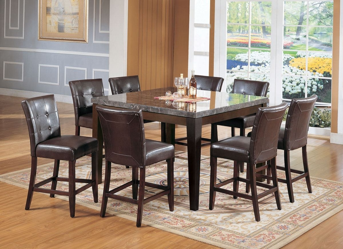 Well Known Acme Danville 7 Pc Marble Top Square Counter Height Dining Table Set With Regard To Dining Tables Set For  (View 22 of 25)
