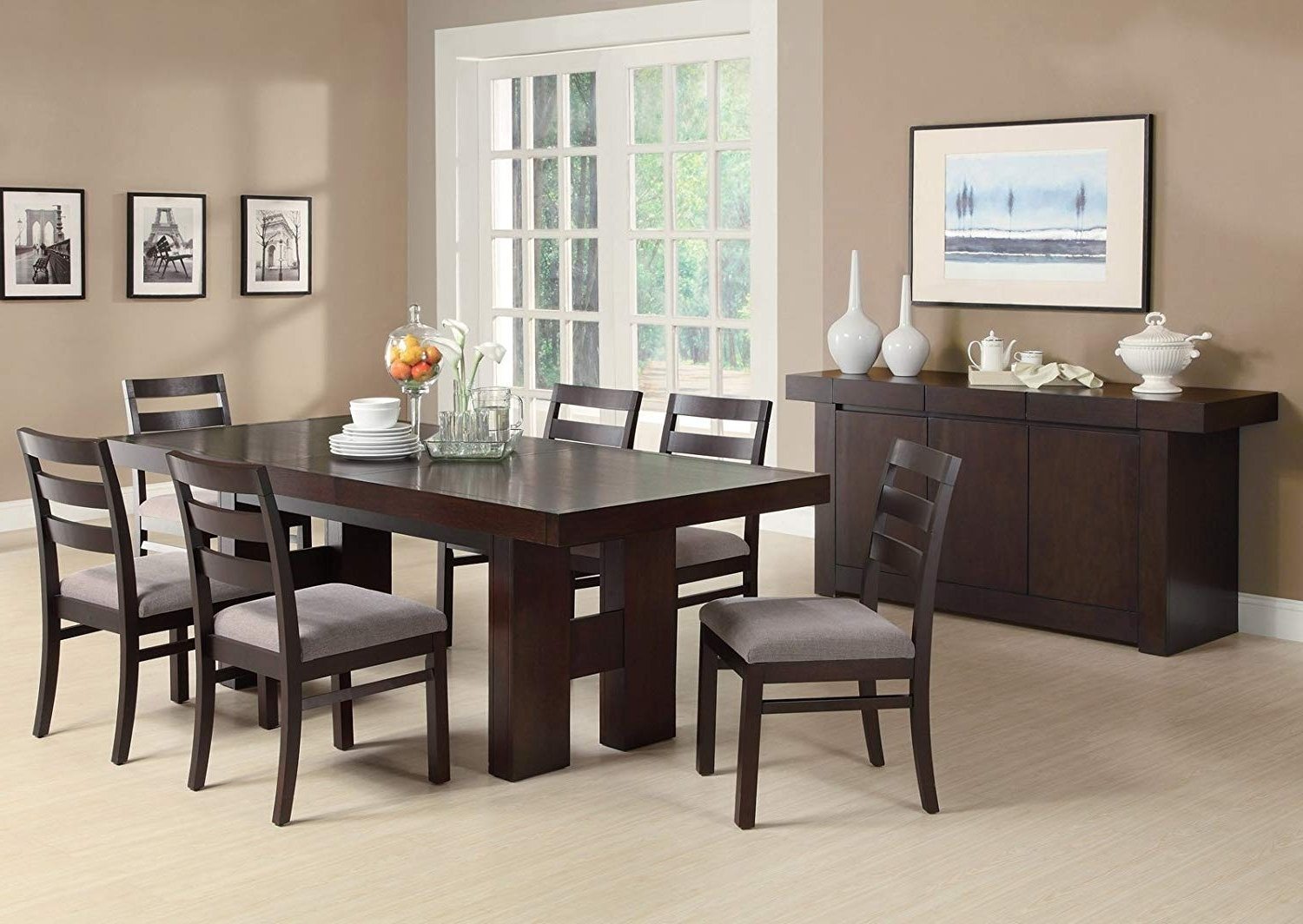 Well Known Amazon – Dabny 7 Pc Dining Table Setcoaster – Table & Chair Sets Pertaining To Craftsman 7 Piece Rectangle Extension Dining Sets With Uph Side Chairs (View 4 of 25)