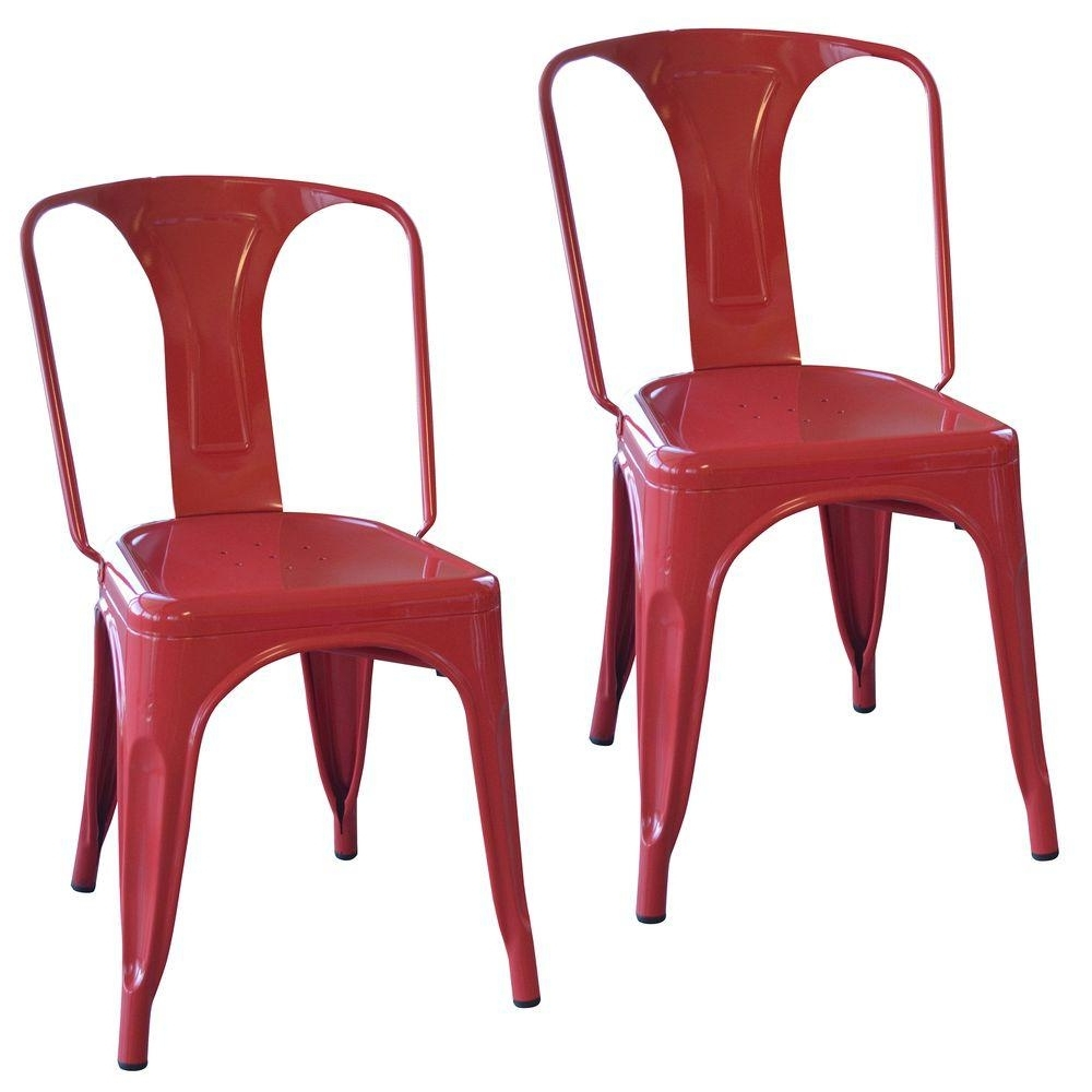 Well Known Amerihome Red Metal Dining Chair (Set Of 2) Bs3530Rset – The Home Depot Inside Red Dining Chairs (View 22 of 25)
