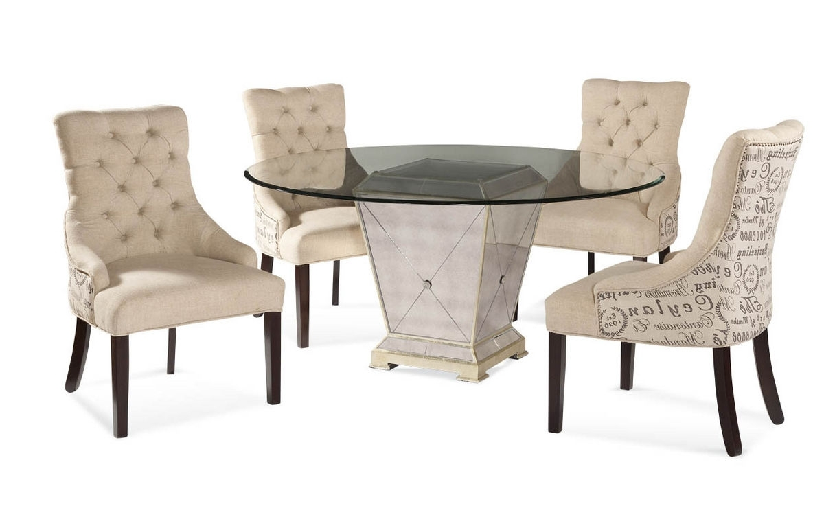 Well Known Antique Mirror Dining Tables For Borghese Round Dining Set With Script Chairs (Antique Mirror (View 24 of 25)