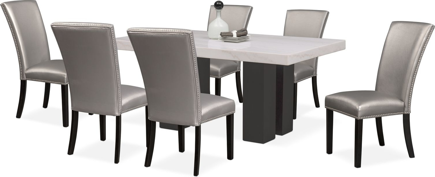 Well Known Artemis Dining Table And 6 Upholstered Side Chairs – Gray (View 14 of 25)