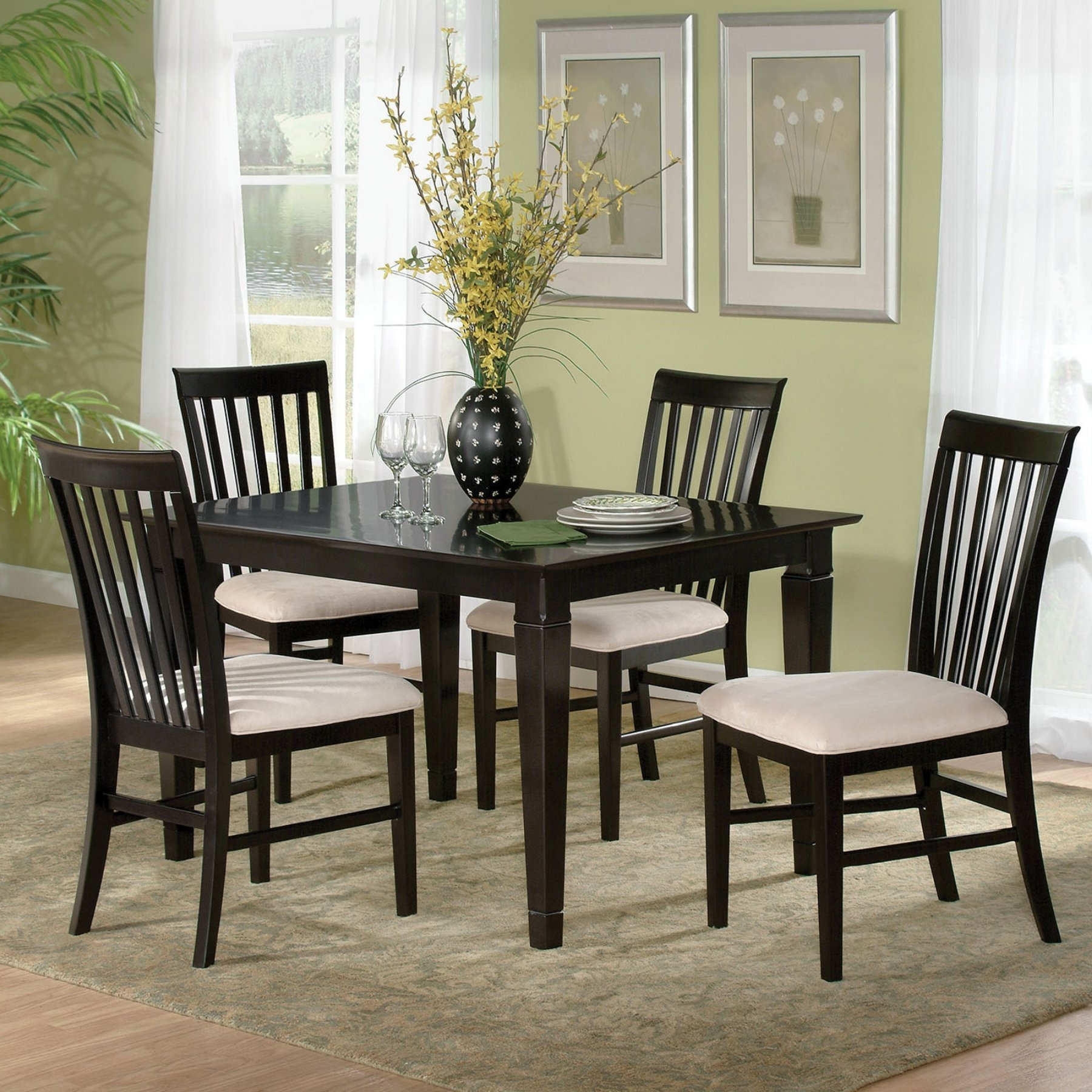 Well Known Atlantic Furniture Montego Bay 5 Piece Espresso Dining Table Set In Craftsman 5 Piece Round Dining Sets With Uph Side Chairs (View 15 of 25)