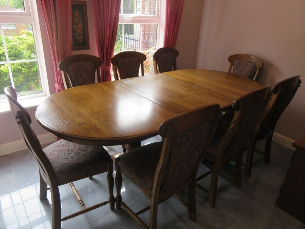 Well Known Belgian Oak Extending Dining Table, 8 Chairs And Matching Tall With Regard To Oak Extending Dining Tables And 8 Chairs (View 24 of 25)