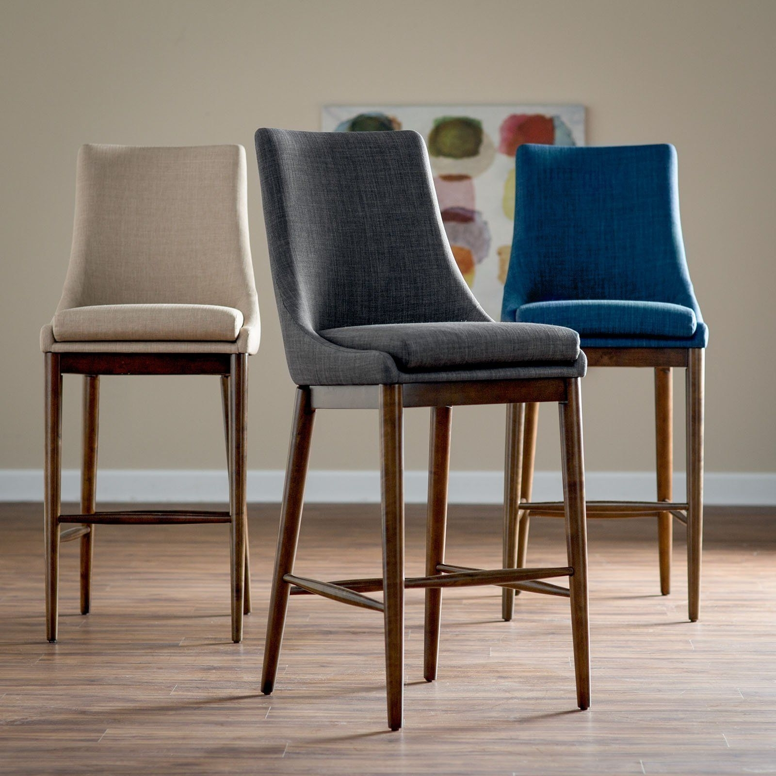 Well Known Belham Living Carter Mid Century Modern Upholstered Bar Height Stool Within Laurent 7 Piece Counter Sets With Upholstered Counterstools (View 11 of 25)