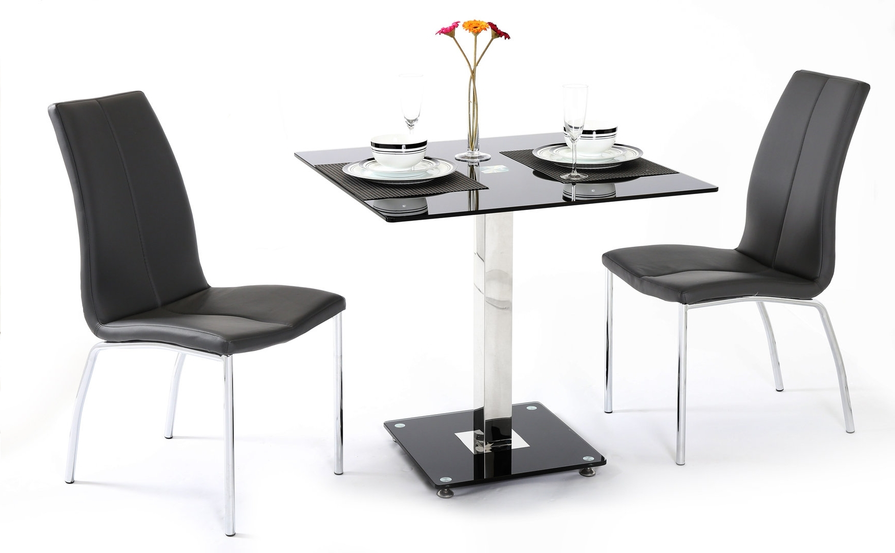 Well Known Black Glass Dining Table And 2 Chairs – Homegenies With Regard To Square Black Glass Dining Tables (View 22 of 25)