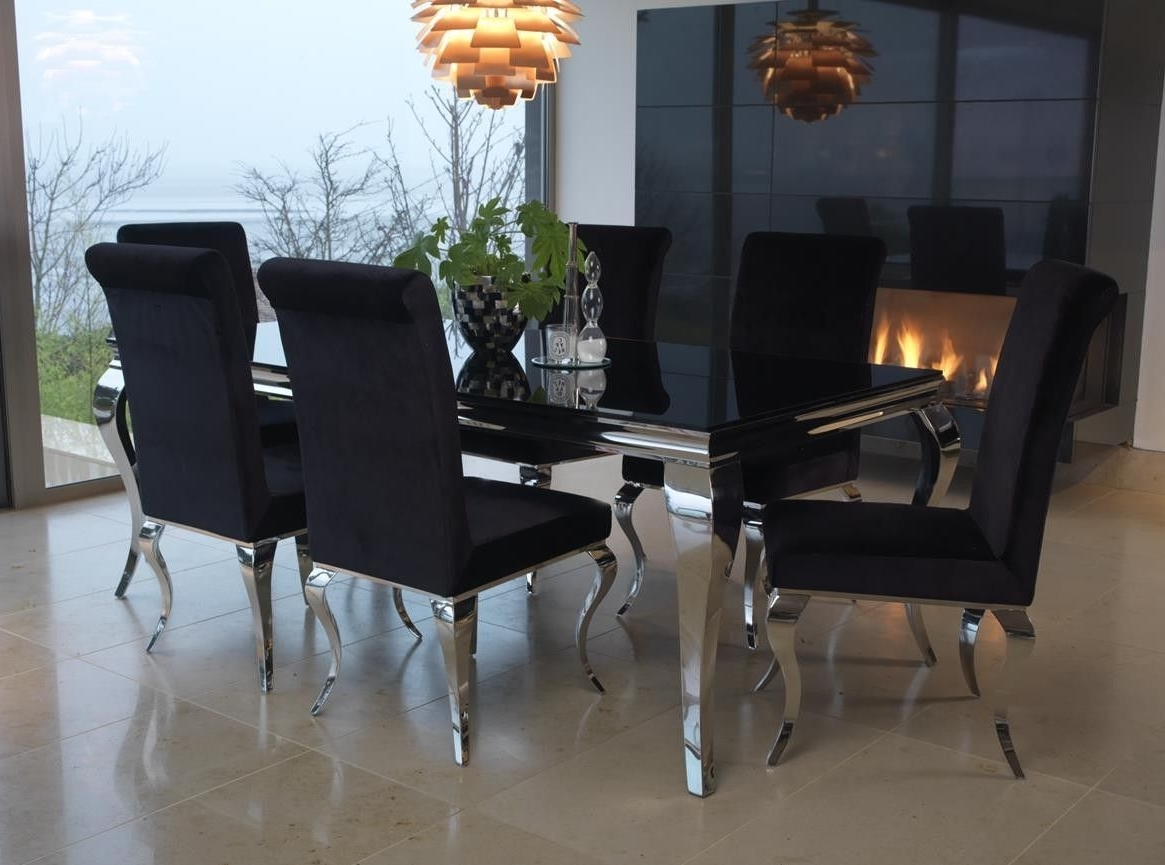 Well Known Black Glass Dining Tables 6 Chairs Regarding Vida Living Exclusive Louis Black Tempered Glass Dining Table With (View 5 of 25)