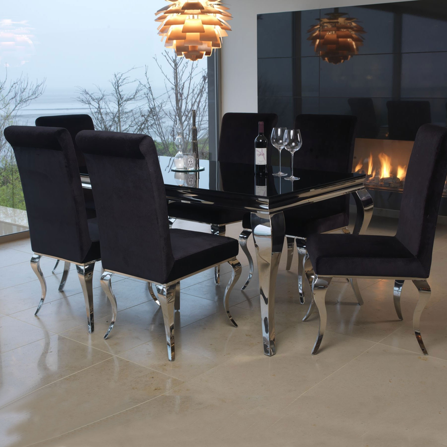 Well Known Black Glass Dining Tables And 4 Chairs Pertaining To Louis Black Glass 200Cm Dining Table & 6 Chairs (View 6 of 25)
