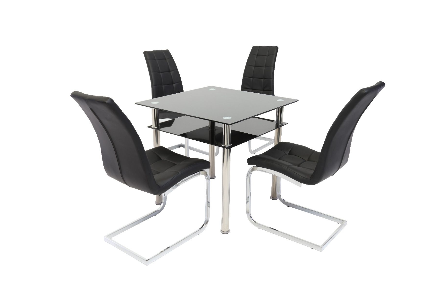 Well Known Black Glass Dining Tables Within Como Black Glass Dining Table With New York Dining Chair (View 22 of 25)