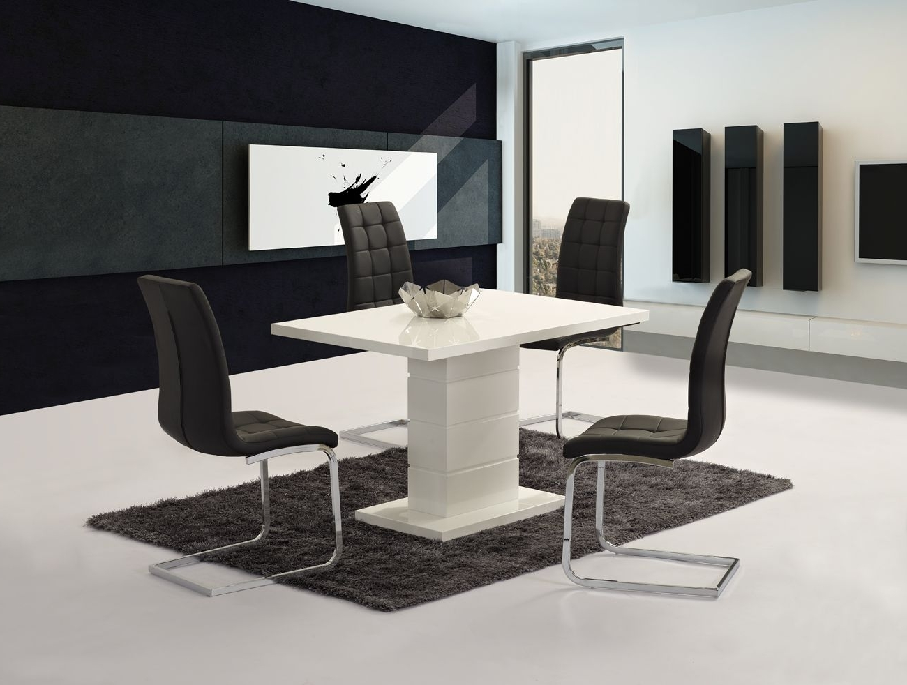 Well Known Black High Gloss Dining Chairs Within Livio White High Gloss Contemporary Designer 120 Cm Compact Dining (View 14 of 25)