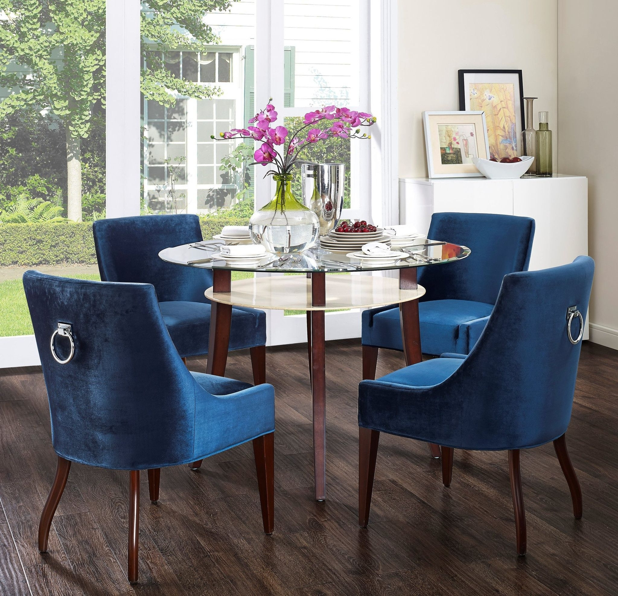 Well Known Blue Dining Tables Throughout Tov Furniture Modern Dover Blue Velvet Dining Chair Tov D (View 16 of 25)
