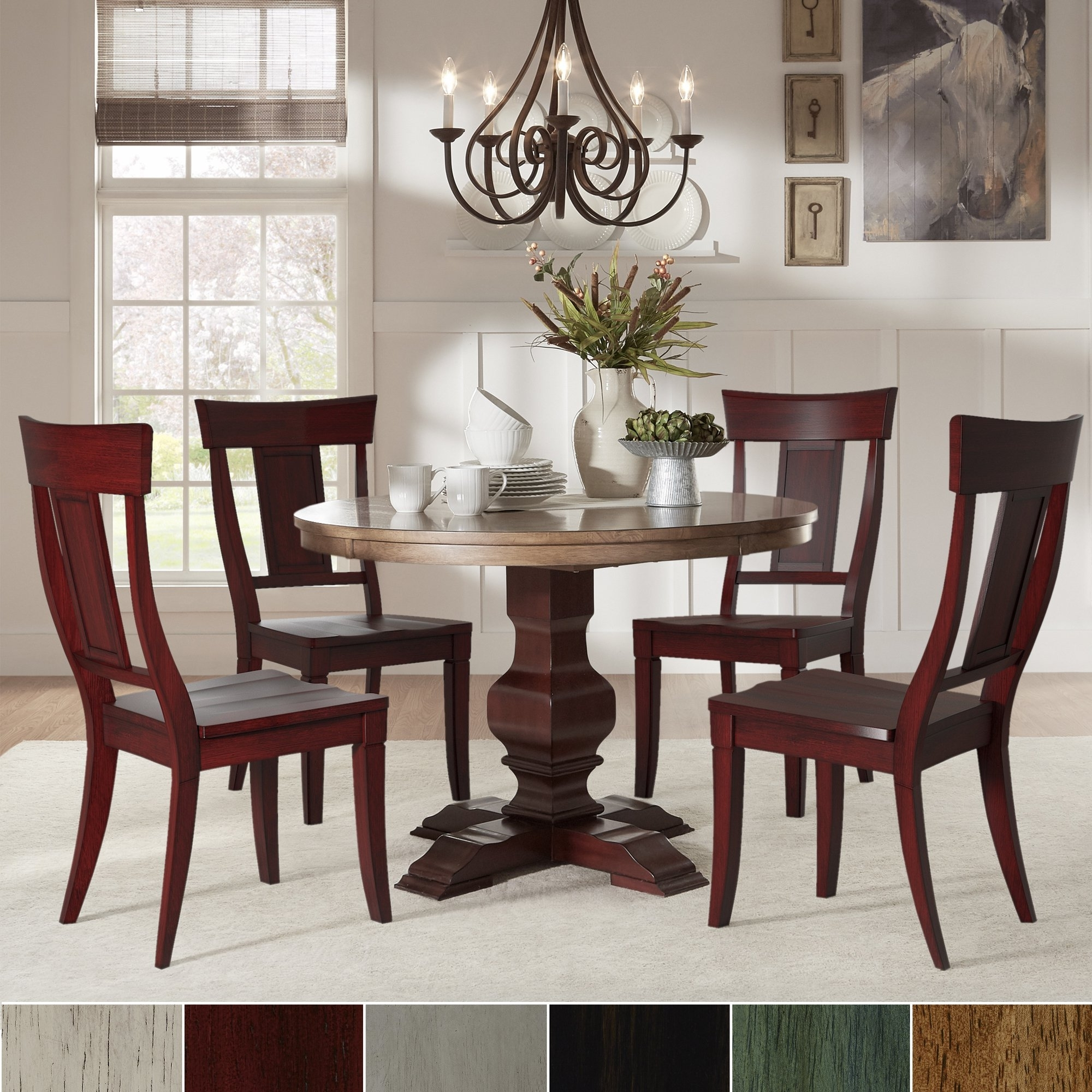 Well Known Caden 5 Piece Round Dining Sets Inside Eleanor Red Round Solid Wood Top 5 Piece Dining Set – Panel Back (View 23 of 25)